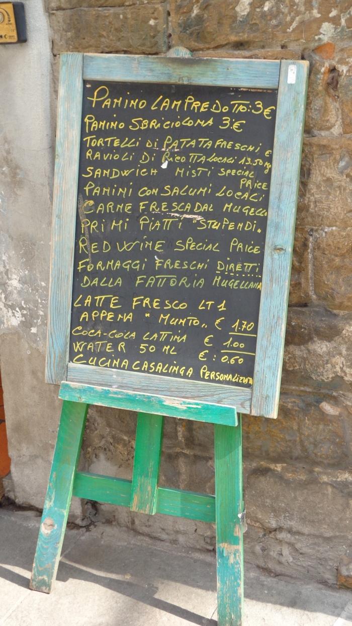 Florence menu board